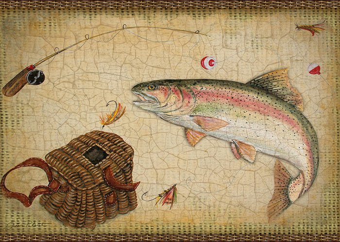 Acrylic Painting Greeting Card featuring the painting Rainbow Trout-basket Weave by Jean Plout