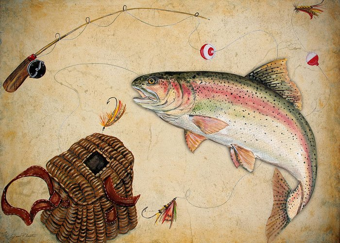 Acrylic Painting Greeting Card featuring the painting Rainbow Trout by Jean Plout
