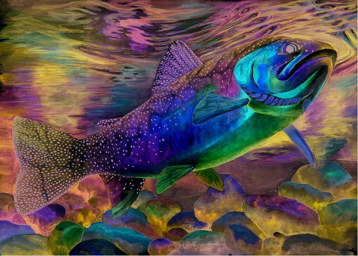 Rainbow Trout Greeting Card featuring the painting Rainbow Trout by Sara Alexander Munoz