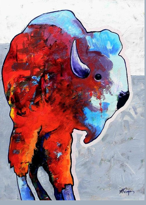 Wildlife Greeting Card featuring the painting Rainbow Warrior Bison by Joe Triano