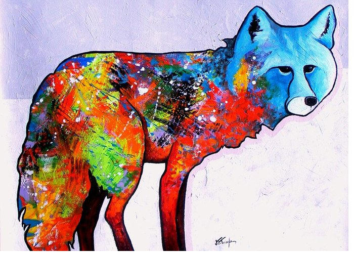 Animal Greeting Card featuring the painting Rainbow Warrior - Fox by Joe Triano