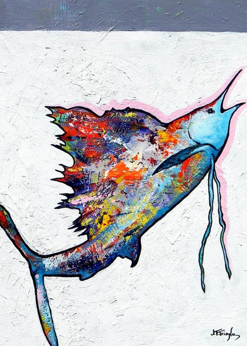 Wildlife Greeting Card featuring the painting Rainbow Warrior - Sailfish by Joe Triano