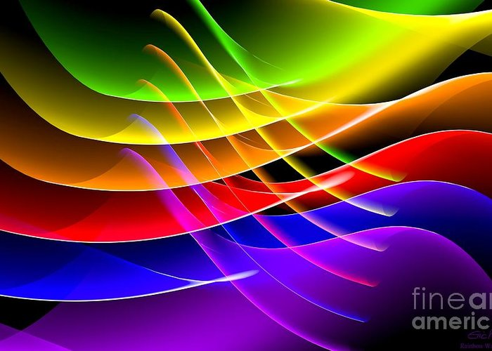 Rainbow Greeting Card featuring the digital art Rainbow Waves by Eric Nagel