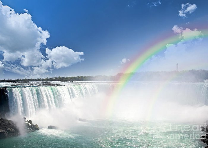 Niagara Greeting Card featuring the photograph Rainbows At Niagara Falls by Elena Elisseeva