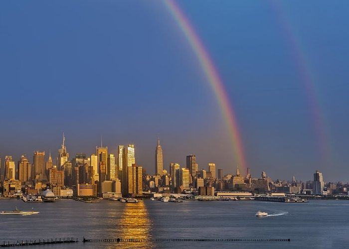 42nd Street Greeting Card featuring the photograph Rainbows Over The New York City Skyline by Susan Candelario