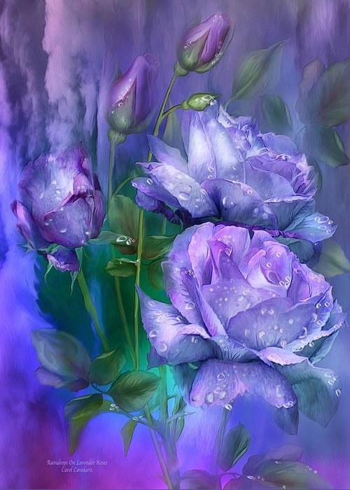 Roses Greeting Card featuring the mixed media Raindrops On Lavender Roses by Carol Cavalaris