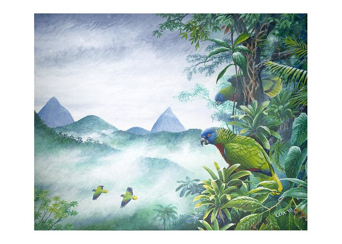 Chris Cox Greeting Card featuring the painting Rainforest Realm - St. Lucia Parrots by Christopher Cox