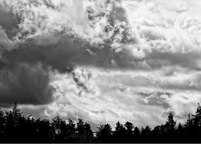 B&w Greeting Card featuring the photograph Rain's Coming by Ronda Broatch