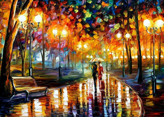 Oil Paintings Greeting Card featuring the painting Rain's Rustle - Palette Knife Oil Painting On Canvas By Leonid Afremov by Leonid Afremov