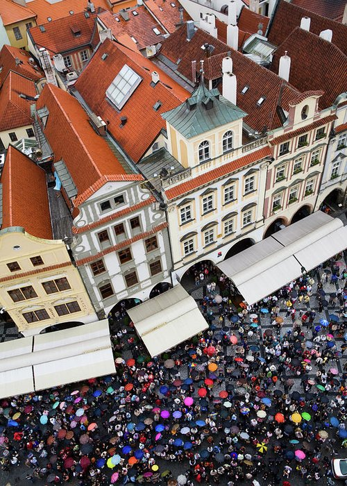 Old Town Square Greeting Card featuring the photograph Rainy Day In Prague-2 by Diane Macdonald
