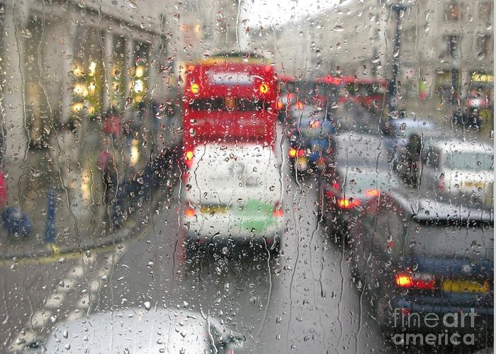 London Greeting Card featuring the photograph Rainy Day London Traffic by Ann Horn