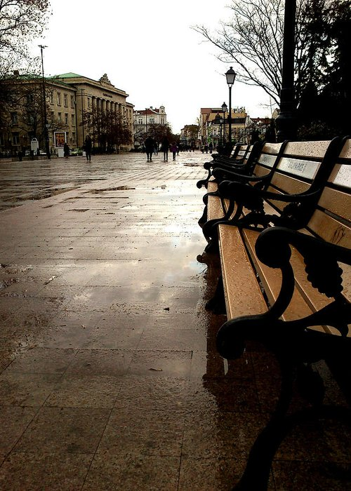 Bench Greeting Card featuring the photograph Rainy Day by Lucy D