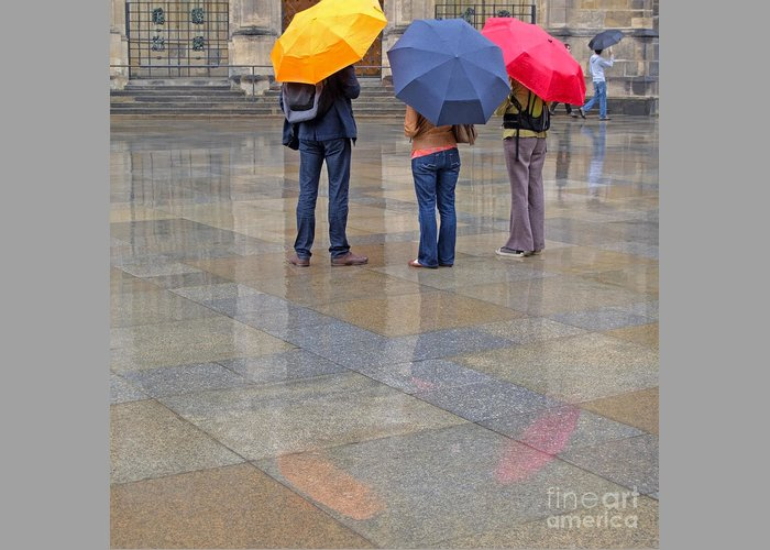 Prague Greeting Card featuring the photograph Rainy Day Tourists by Ann Horn
