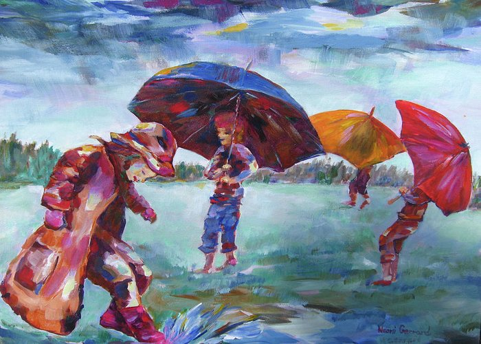 Rainy Day Scene Greeting Card featuring the painting Rainy Days by Naomi Gerrard