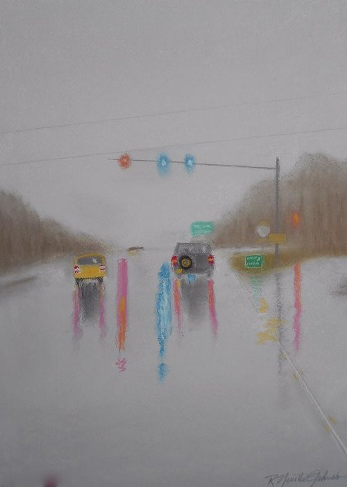Gray Day Greeting Card featuring the mixed media Rainy Foggy Drive In The Country by R Neville Johnston