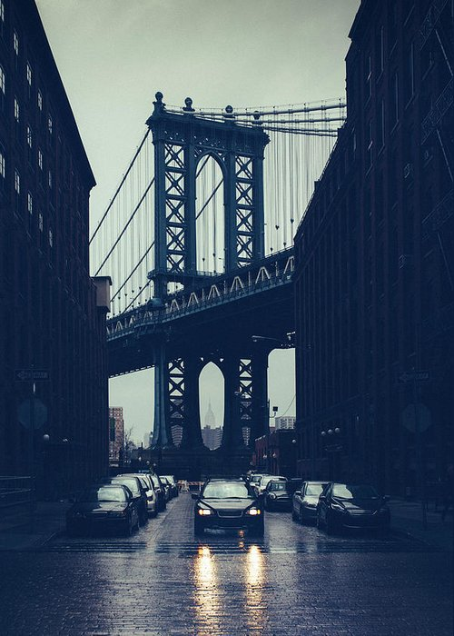 Parking Lot Greeting Card featuring the photograph Rainy New York City by Ferrantraite