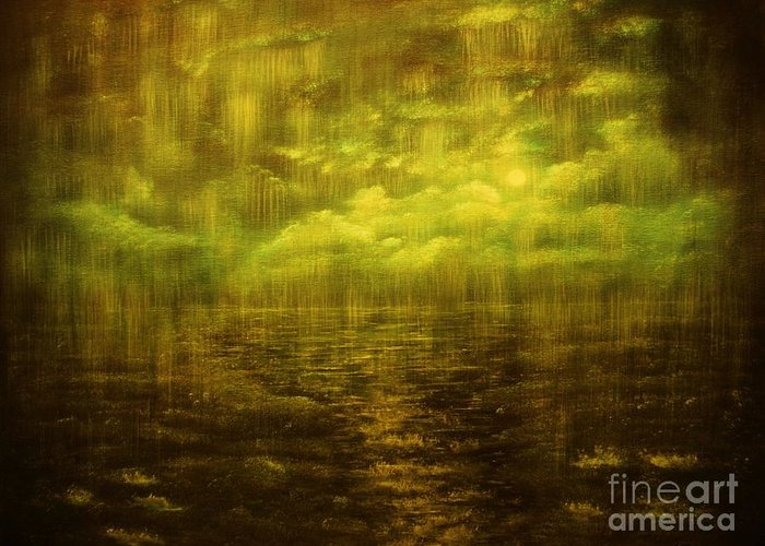 Rain Greeting Card featuring the painting Rainy Night Over Norway-original Sold-buy Giclee Print Nr 20 Of Limited Edition Of 40 Prints by Eddie Michael Beck