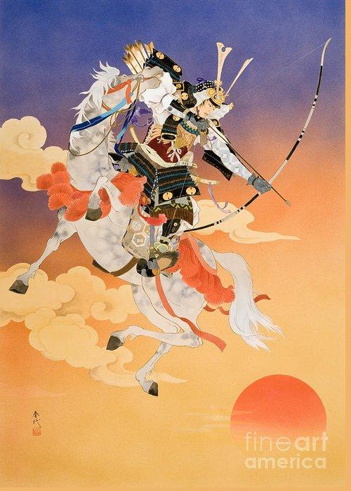 Adult Greeting Card featuring the digital art Rakujitsu by Haruyo Morita