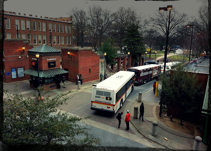 Popular Greeting Card featuring the photograph Raleigh Bus Terminal - Evening by Paulette B Wright