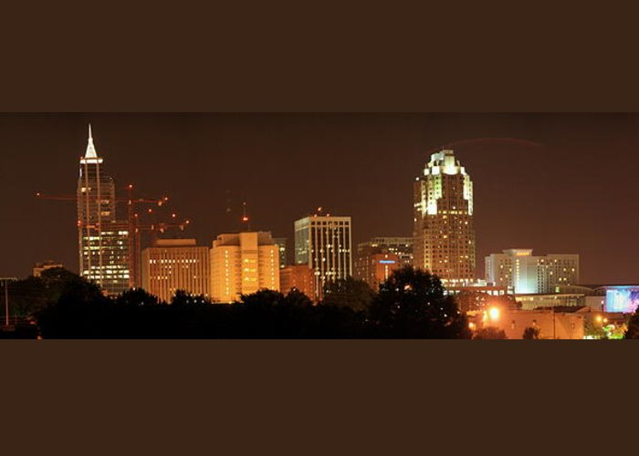 North Carolina Greeting Card featuring the photograph Raleigh Skyline At Night by Andrew Nelson