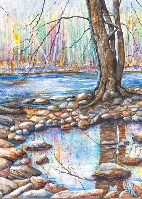 A Pool Of Water Splashed From The Flowing River; It Is Early Spring And The Trees Are Dreaming Of Blooming In Pastel Shades. A Staid Tree Reflects Itself Perfectly In The Quiet Pool Surrounded By The Rocks Of The Shoreline. Greeting Card featuring the painting Ralph Stover Park In The Spring by Patricia Allingham Carlson