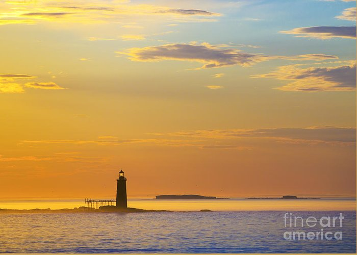 Lighthouse Greeting Card featuring the photograph Ram Island Lighthouse Casco Bay Maine by Diane Diederich