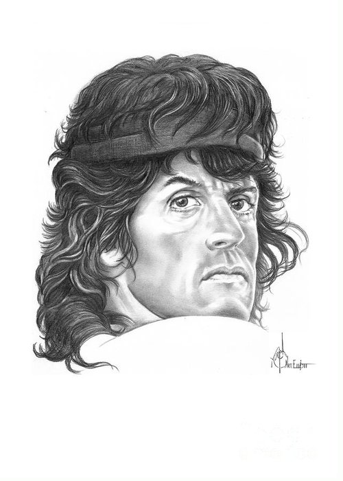Pencil Greeting Card featuring the drawing Rambo-sylvester-stallone by Murphy Elliott