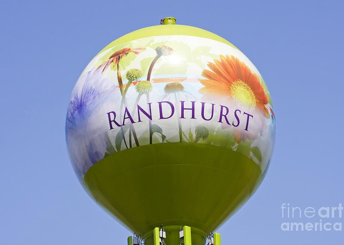Randhurst Greeting Card featuring the photograph Randhurst Water Tower by Patty Colabuono