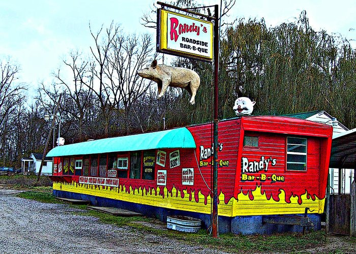 Mj Olsen Greeting Card featuring the photograph Randy's Roadside Bar-b-que by MJ Olsen