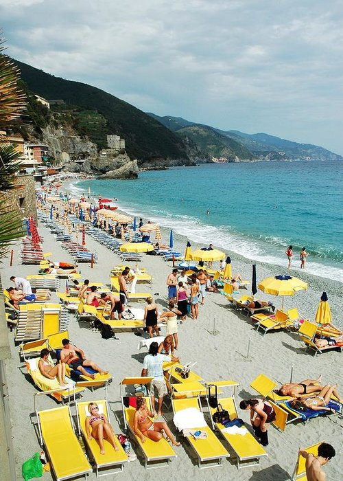 Italy Greeting Card featuring the photograph Rapallo Beach by Allen Beatty