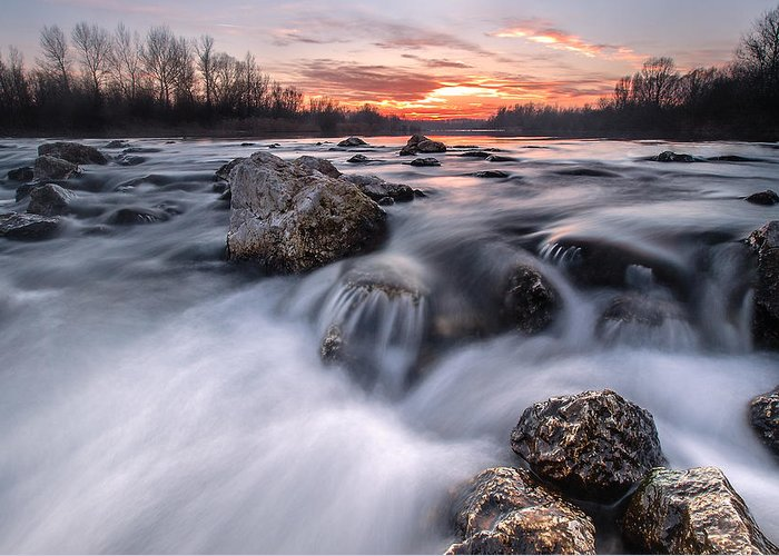 Landscapes Greeting Card featuring the photograph Rapids On Sunset by Davorin Mance