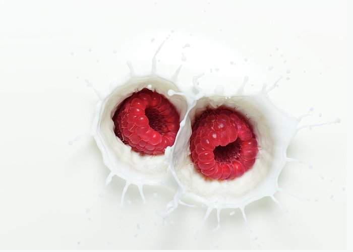 Milk Greeting Card featuring the photograph Raspberry Milk Splash by Chris Stein