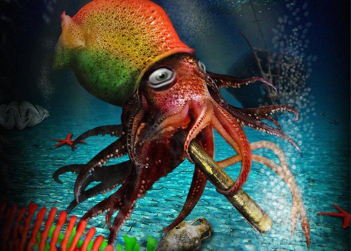 Rasta Greeting Card featuring the digital art Rasta Squid by Alessandro Della Pietra