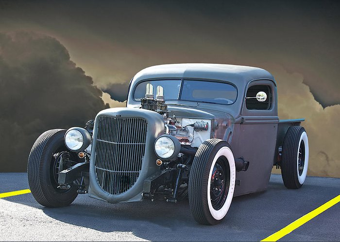 Coupe Greeting Card featuring the photograph Rat Rod Pick Up In Primer by Dave Koontz