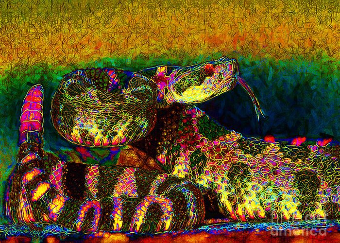 Rattlesnake Greeting Card featuring the photograph Rattlesnake 20130204p0 by Wingsdomain Art and Photography