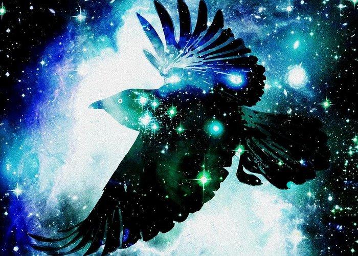 Malakhova Greeting Card featuring the digital art Raven by Anastasiya Malakhova