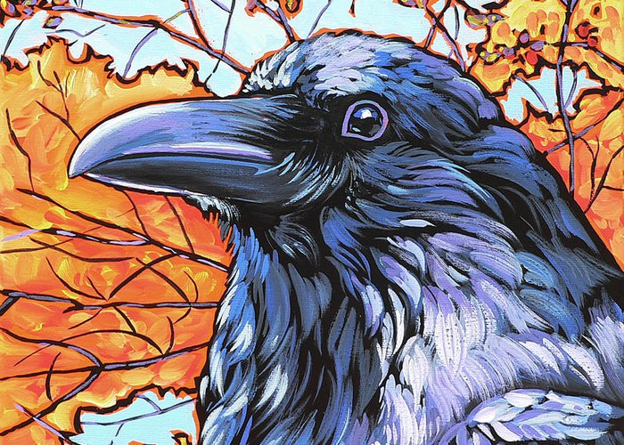 Raven Greeting Card featuring the painting Raven Head by Nadi Spencer