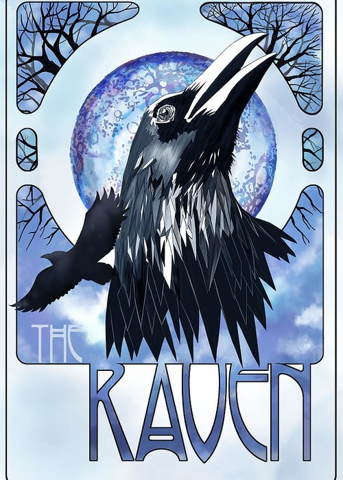 Raven Illustration Greeting Card featuring the painting Raven Illustration by Sassan Filsoof