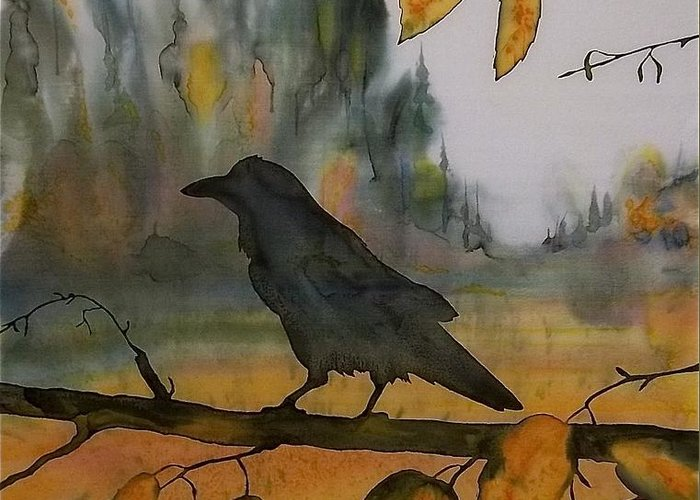 Raven Greeting Card featuring the tapestry - textile Raven In Orange Birch by Carolyn Doe