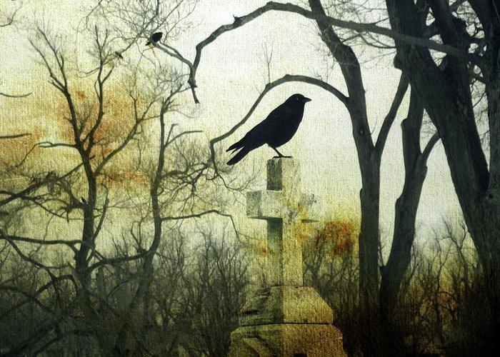 Birds In Graveyard Digital Art Greeting Cards