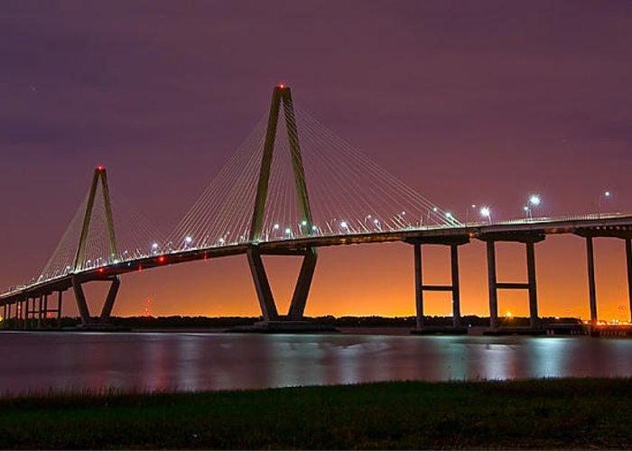Long Exposure Greeting Card featuring the photograph Ravenel Bridge At Night by Robert Donovan