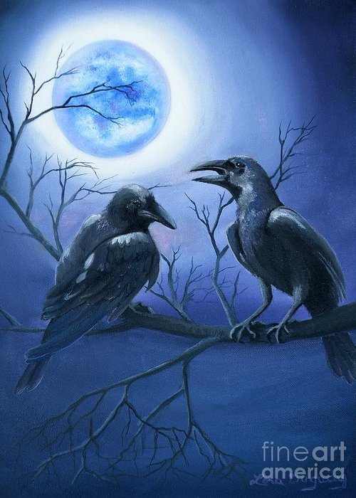 Ravens Greeting Card featuring the painting Raven's Moon by Lora Duguay