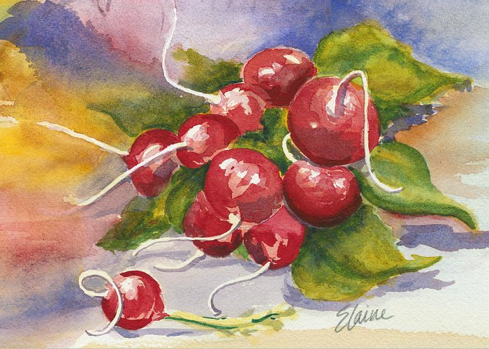 Radish Greeting Card featuring the painting Ravishing Radishes by Elaine Allen