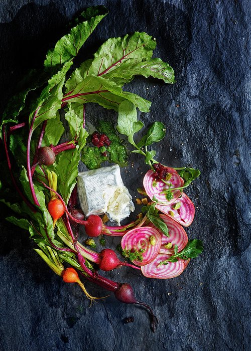Cheese Greeting Card featuring the photograph Raw Beeet Salad Ingredients by Annabelle Breakey