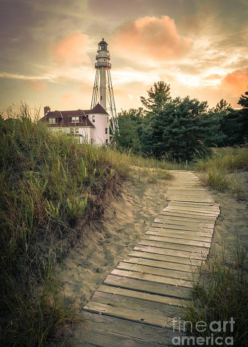 Rawley Point Greeting Card featuring the photograph Rawley Point Lighthouse Under Smoldering Skies by Ever-Curious Photography