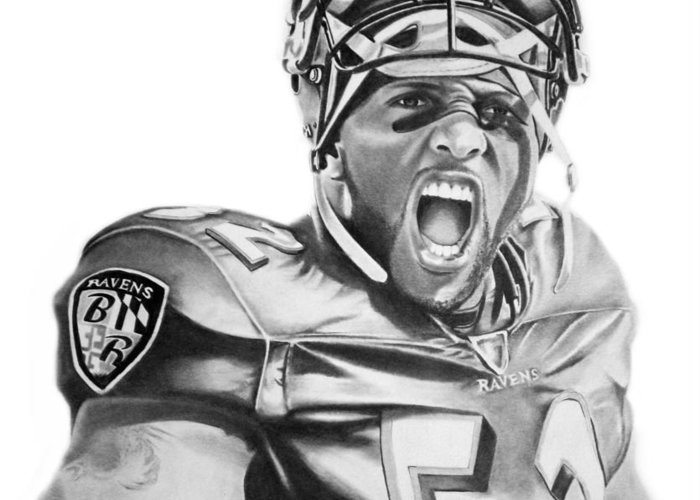 Ray Lewis Greeting Card featuring the drawing Ray Lewis by Don Medina