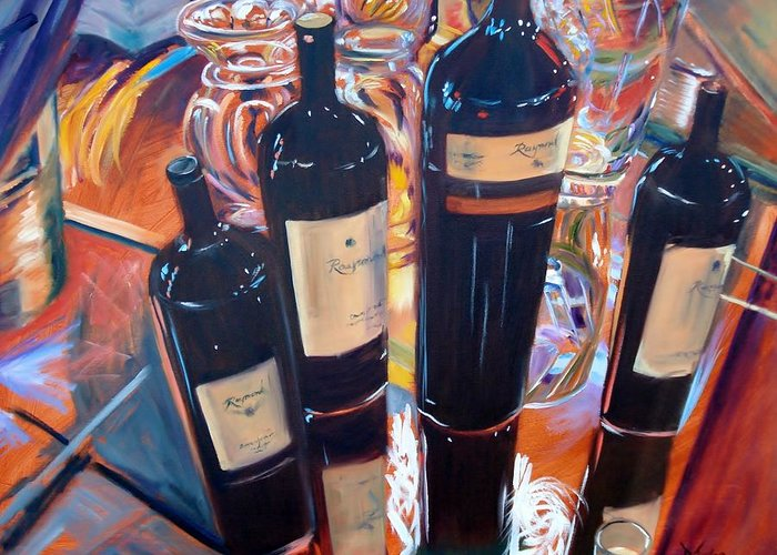 Wine Greeting Card featuring the painting Raymond Vineyards Crystal Cellar by Donna Tuten