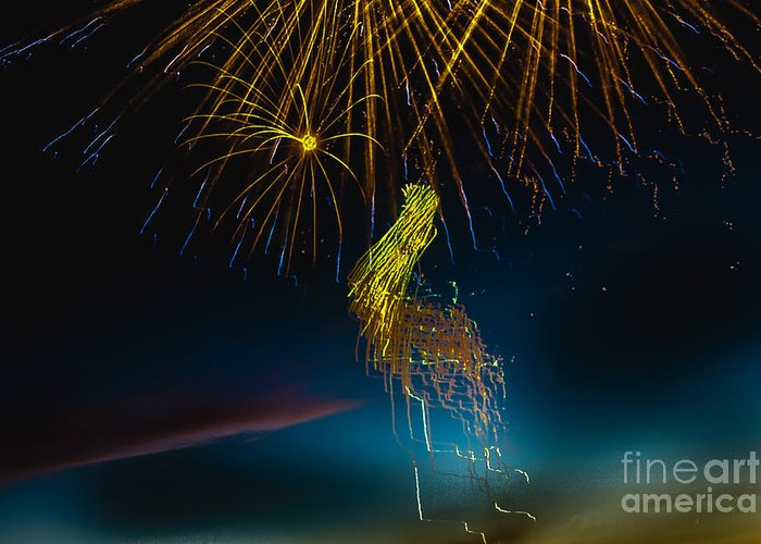 Fireworks Greeting Card featuring the photograph Rays Of Light From Above by Robert Bales