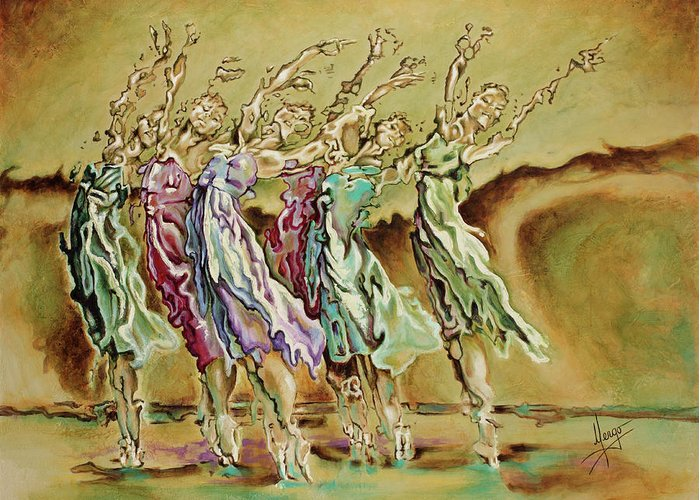 Ballet Greeting Card featuring the painting Reach Beyond Limits by Karina Llergo