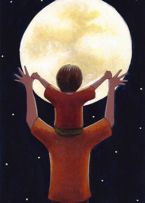 Child Greeting Card featuring the painting Reach The Moon by Christy Beckwith